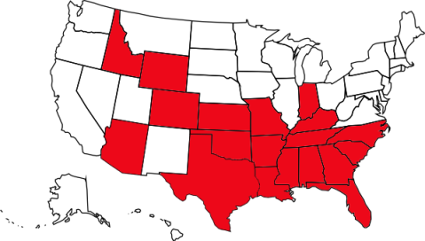 States in red allow corporal punishment in schools. Source: Topical Teaching