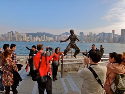 Bruce Lee was super popular so I could only get a picture of people taking pictures with him