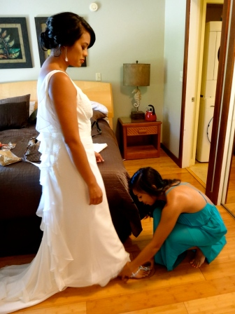 Helping the beautiful bride get ready