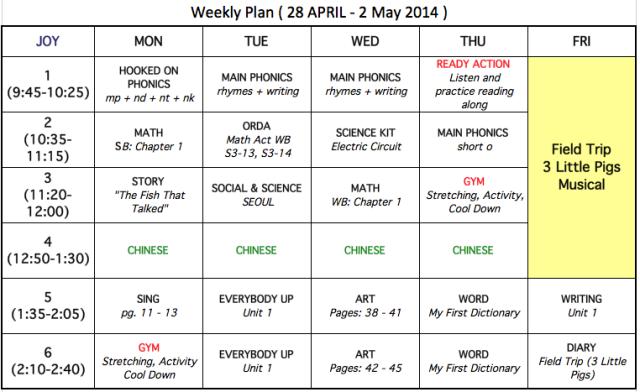 Korean Kindy Schedule