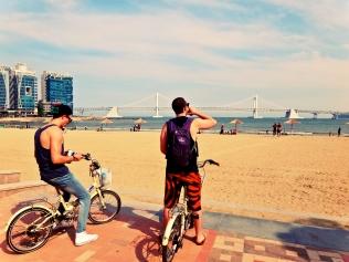 Biking at Gwangalli Beach